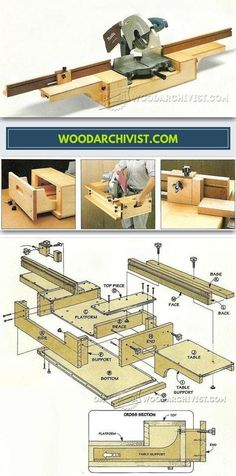 DIY Portable Miter Saw Stand - Miter Saw Tips, Jigs and Fixtures | WoodArchivist.com #mitersaw