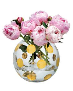 pink peonies in kate spade gold polka dot vase