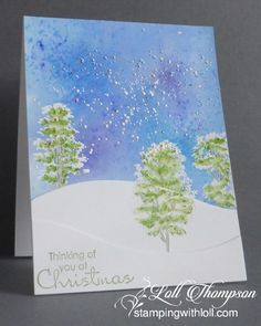Thinking of You at Christmas: Stamps:  Vignette: Tree Silhouettes (STAMPlorations); Beautiful Season - sentiment (SU!) Paper:  White card base (Neenah); Coated Card stock (unknown) Ink:  Brushos (turquoise, purple); Copics; Versamark; Pear Pizzazz (SU!) Accessories & Tools:  water mister, Snow drifts dies (My Favorite Things), White embossing powder, Shabby Chic Frantage (Stampendous) (xmas2, ims, +)
