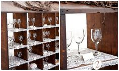 The bride prettied up a chicken coop and in each numbered compartment placed a set of engraved glasses which doubled as escort cards and favours for the guests. Hay Wedding, Gift Table Wedding, Seating Plan Wedding, Quirky Wedding, Wedding Place Cards, Vineyard Wedding, Wedding Blog, Wedding Ideas, Wedding Gifts