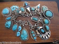 Vintage silver ZUNI NAVAJO NATIVE AMERICAN TURQUOISE DEAD PAWN CHARM bracelet