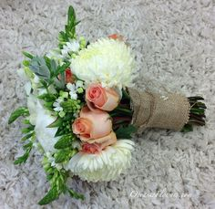 White, Coral, and Green Bridal Bouquet with Burlap Wrap