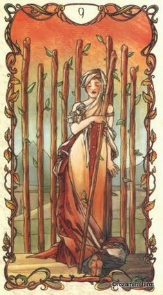 Nine of Wands -   Tarot Card meaning for Present:  Some encouragement from a friend or loved one will help you overcome the challenge you face.   Source:  Mucha Tarot