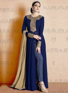 Navy Blue Beige Embroidery Work Georgette Print Palazzo Pakistani Designer Suit…