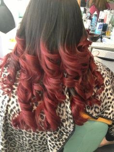 My Red Ombre! Black and red are a great hair mix!