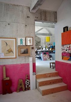 Alphabet letters // industrial style living // color blocked bright pink and concrete walls //