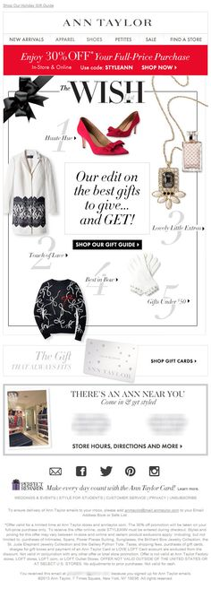 Sent: 11/18/13 SL:'The Best to GIVE & GET: The Wish List' Great Wish List email including a gift card secondary feature.