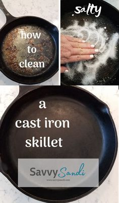 Cast Iron Skillet Care and How to Maintain the Pans - Savvy Sandi - How to Clean a Cast Iron Skillet. Easy cleaning tips and cleaning tricks for cleaning a cast iron skillet in the kitchen. Clean cast iron pans without stripping the seasoning off. Cleaning Cast Iron Pans, Cast Iron Cooking, Clean Cast Iron Skillet, Skillet Cooking, House Cleaning Tips, Cleaning Hacks, Cleaning Recipes, Cleaning Schedules, Kitchen Cleaning