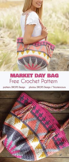 Hottest Free of Charge tapestry Crochet Bag Popular Market Day Bag Free Crochet Pattern Bag Crochet, Crochet Market Bag, Crochet Handbags, Crochet Purses, Crochet Crafts, Crochet Projects, Crocheted Bags, All Free Crochet, Tapestry Crochet Patterns