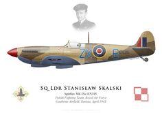 Spitfire Mk IXc EN315, S/L Stanislaw Skalski, Polisht Fighting Team, Tunisie, 1943.