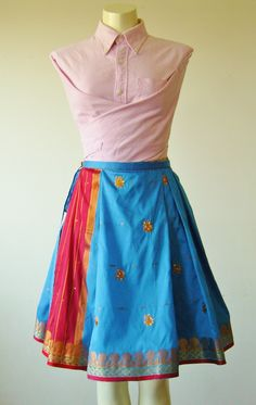 Blue Embroidered Wrap Skirt made from a full sari