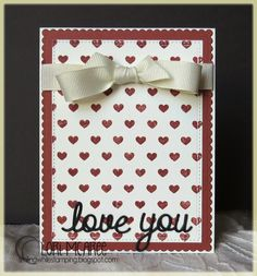 Smiling while Stamping: love you handmade love/anniversary/valentine card using My Favorite Things Tiny Hearts Background stamp, Love & Adore You die-namics and blueprints 20 die-namics