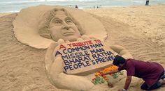 Puri: Sand artist Sudarsan Pattnaik creates a sand sculpture to pay tribute to former President APJ Abdul Kalam, at Puri beach in Odisha on Tuesday. Sand Sculptures, Sculpture Art, Zebra Art, Abdul Kalam, Amazing India, Rare Images, Indian Artist, Sand Art, Global Warming