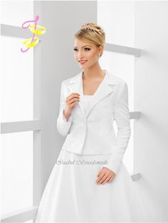 Bruids jasje (colbert) satjn ABS25. Kleuren: wit, ivoor of zwart./Bridal jacket satin. Colors: white, ivory or black.