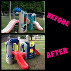 Repaint Little Tikes play set before and after. I used Krylon Fusion spray paint.