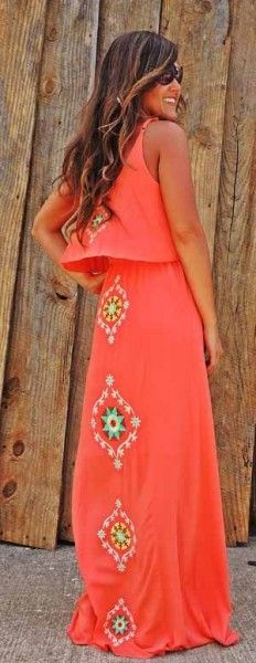 Embroidered Boho Maxi Dress - Your own fashion