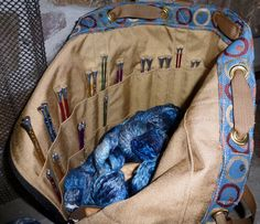 Tapestry Knitting Bags with twenty eight pockets. | Nantucket Bags built in Knitting Needle Organizer offers places for your fav needles and when pockets are on the inside: it converts to a backpack. http://nantucketbagg.com/products/rich-bluetapestry-knitting-bag-is-made-in-the-usa   Reg  $249  Sale $199