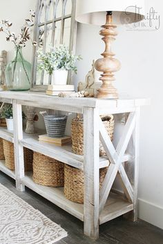 DIY rustic X console table. Wood X console table tutorial. Entry way decor and d. - DIY rustic X console table. Wood X console table tutorial. Entry way decor and decorating ideas. Diy Storage Table, Diy Table, Diy Entry Storage, Entryway Table With Storage, Wooden Table Diy, Entryway Decor, Entryway Tables, Rustic Entry Table, Rustic Console Tables