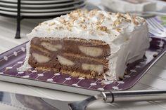 Ένας υπέροχος, δροσερός και ανάλαφρος κορμός με κρέμα στιγμής σοκολάτας, με μπισκότα και μπανάνες. Ένα γλύκισμα, με 5 μόνο υλικά που θα λατρέψουν μικροί