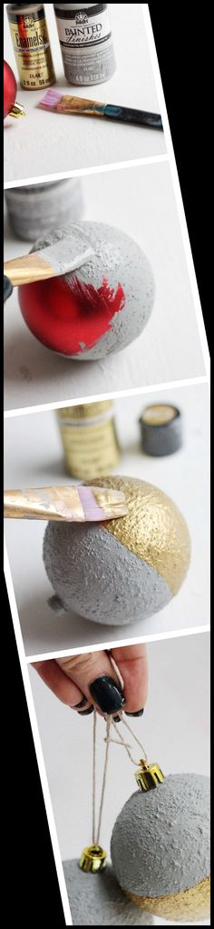 Create modern concrete ornaments for Christmas without the weight of actual cement! These are so easy to make and look great on your tree. #Ornaments #Christmas #Concrete #Unique #Faux christmas crafts for gifts for adults Faux Concrete Ornaments for a Unique Christmas Tree 28+ Christmas Crafts For Gifts For Adults