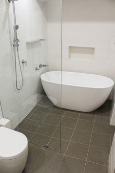 Wet Room - Wet Room Bathrooms - Fixed Panel Shower Screen - Freestanding Bath - On the Ball Bathrooms - Bathrooms Thornlie