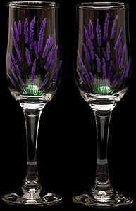 Pair of Champagne Flutes in English Lavender Design Champagne Flutes, Glass Design, Table Linens, Celtic, Wine Glass, Lavender, English, Hand Painted, Color