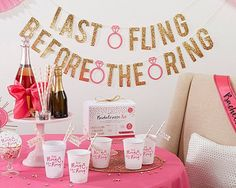 Bachelorette Party Kit features bachelorette party supplies that includes a fun Last Flight Before the Ring theme. The pink and gold color…