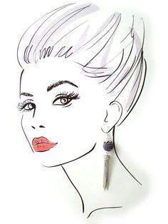 Long tassel earrings with grey bead modern by ElenaCrochetShop