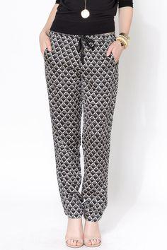 Draped Printed Pants