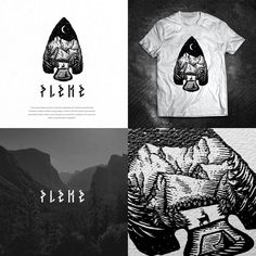 Logo design and branding by Dusan Klepic for outdoor mountaineering club Pleme. This handcrafted black and white illustration shows a forest camping scene within an arrowhead. #nature #rustic #sketch
