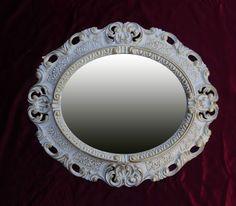 Bright Espejo De Pared Oro Blanco Ovalado 45x38 Barroca Antiguo Reproducción Vintage Arte Y Antigüedades