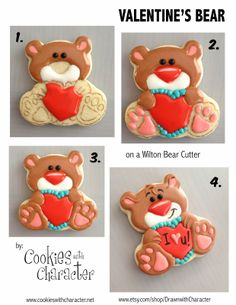 Cookies with Character: Simple Valentine's Bear Tutorial