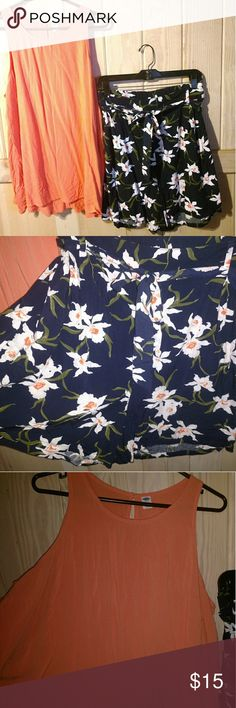 Cute Old Navy Outfit Flowy swing tank top with matching floral print shorts. Shorts are new and top only wore a few times. Old Navy Shorts