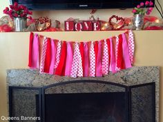 Valentines Fabric Garland www.etsy.com/shop/queensbanners by QueensBanners