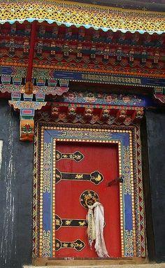 Buddhist Temple Door, Tibet.