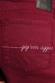 OCJ Apparel | Premium Collegiate Denim | Texas A&M Aggies Original Shorts Zig Zag in Maroon | www.ocjapparel.com