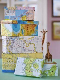 * Decoração e Invenção *: Caixas decoradas com mapas