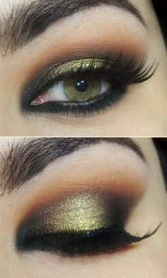 10 Gorgeous Makeup Looks for Fall 2014 This eye makeup is just beautiful. It really makes her green/hazel eyes stand out - Das schönste Make-up Sexy Eye Makeup, Gold Makeup, Smokey Eye Makeup, Gorgeous Makeup, Pretty Makeup, Skin Makeup, Eyeshadow Makeup, Gold Eyeshadow, Green Makeup