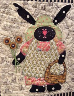 May block, Bunnies on the Champs-Elysees by Jan Soules, design by Sue Garman.  in: Quilt Inspiration: A bevy of bunny quilts for Easter