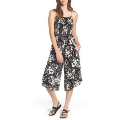 Women's Mimi Chica Smocked Floral Jumpsuit (€38) ❤ liked on Polyvore featuring jumpsuits, floral wide leg jumpsuit, floral romper, wide leg romper, wide leg jumpsuits and white jumpsuit