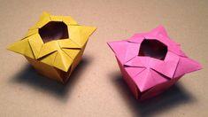 【折り紙(おりがみ)】 花瓶(箱、つぼ)の折り方 作り方 実用 入れ物