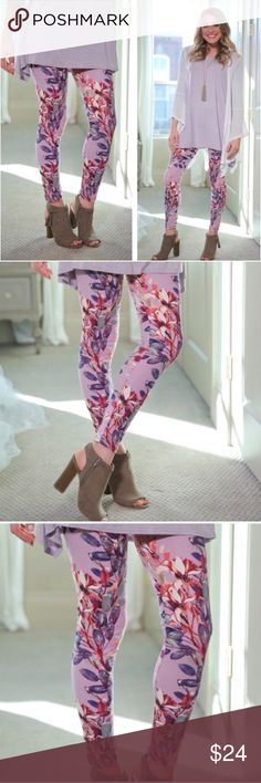 LILAC FLORAL BRUSHED KNIT LEGGINGS🌷 Incredibly soft brushed knit floral leggings🔹Spring 🌷 floral lilac print🔹92% polyester, 8% spandex🔹One Size Fits Most (2-12)🔹Tunic available in our closet🔹Bundle discount: 10% off two, 15% off three🔹ON THE WAY🔹 Infinity Raine Pants Leggings