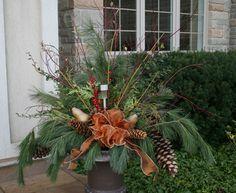 "christmas outdoor urn arrangements | Medium Urns 12""; Large Urns 14"""