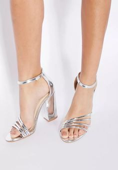 990b7d4cd81ed5 Shop silver Adeline Metallic Block Heels from Dolcis silver at Namshi.com -  Women Shoes