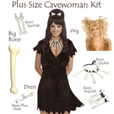 Plus Size Cave Woman Costume Plus Size u0026 Supersize Halloween Costume Set! 0x 1x 2x 3x 4x 5x 6x 7x 8x 9x  sc 1 st  Pinterest & How to Make a Cave Woman Costume | Pinterest | Woman costumes Cave ...