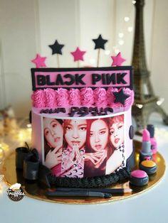 Birthday Kek, Pink Birthday, Birthday Parties, Bts Cake, Make Up Cake, Pink Foods, Gift Cake, Black Pink Kpop, Its My Bday