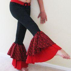 Samba dance pants, ruffled bell-bottoms, black and red with polka dots
