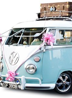 """Betsy the blue VW wedding bus. The """"something blue"""" for the wedding?"""