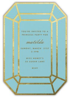 """""""Gem - Teal"""" Invitation, by kate spade new york, Paperless Post Bachelorette Invitations, Birthday Invitations Kids, Party Invitations, Bachelorette Ideas, Online Invitations, Digital Invitations, Wedding Wishes, Wedding Cards, First Birthday Outfits"""