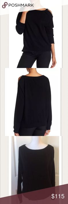 """$325 VINCE Cold Shoulder 100% Cashmere Tunic $325 VINCE Cold Shoulder 100% Cashmere Tunic in Black ~Size S~  High end department store customer return. Retails for $325 + Tax  Very pretty! Gently worn  100% cashmere Black Long sleeve Cold shoulder one side  Size S  Measures approximately: total length 25"""" bust across 21.5""""  *Has a small hole on the right shoulder- refer to photos. Otherwise very nice condition, no picking or piling.   PLEASE ASK ANY QUESTIONS BEFORE PURCHASE, THANKS CHECK…"""